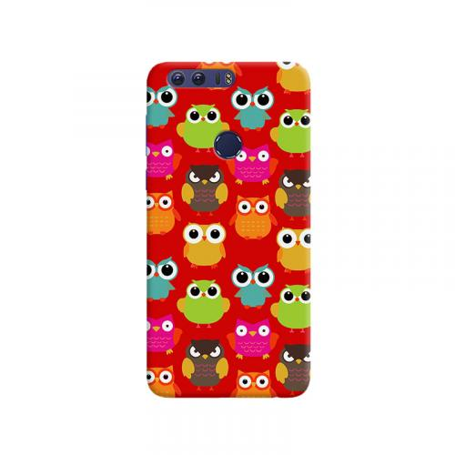 Owls in red design